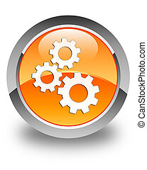 Gears icon glossy orange round button 2
