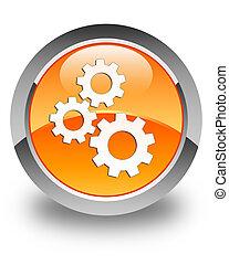 Gears icon glossy orange round button 2