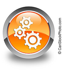 Gears icon glossy orange round button