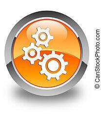 Gears icon glossy orange round button