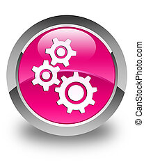 Gears icon glossy pink round button
