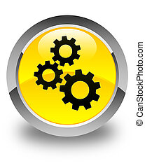 Gears icon glossy yellow round button