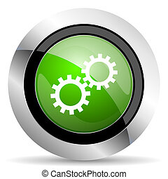 gears icon, green button, options sign