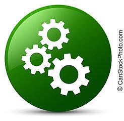 Gears icon green round button