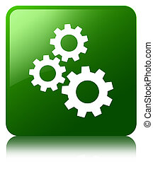 Gears icon green square button