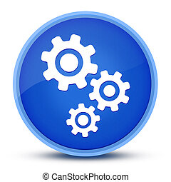 Gears icon isolated on special blue round button abstract