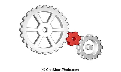 Gears - Icon of gears spinning. Seamless looping. Luma matte...
