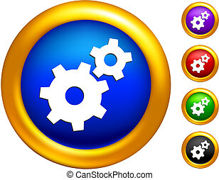 gears icon on buttons with golden borders