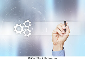 Gears icon on virtual screen with empty space for text. Automation, Business process and technology concept.