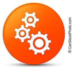 Gears icon orange round button