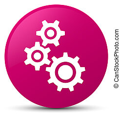 Gears icon pink round button