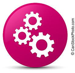 Gears icon pink round button