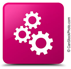 Gears icon pink square button