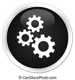 Gears icon premium black round button
