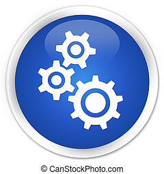 Gears icon premium blue round button