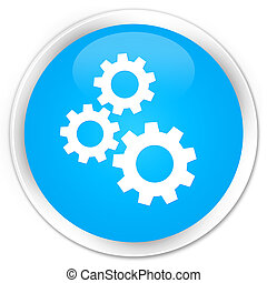 Gears icon premium cyan blue round button