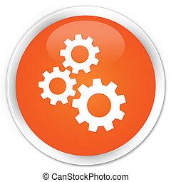 Gears icon premium orange round button