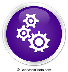 Gears icon premium purple round button