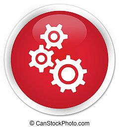 Gears icon premium red round button