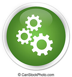 Gears icon premium soft green round button
