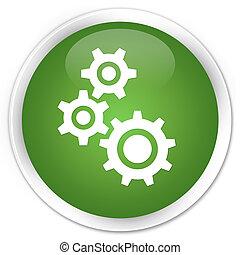 Gears icon premium soft green round button