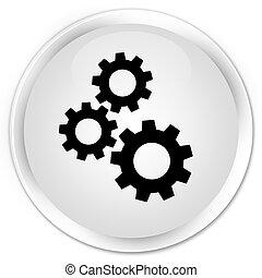 Gears icon premium white round button