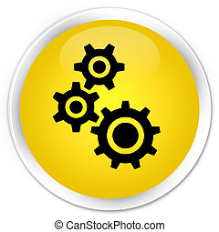 Gears icon premium yellow round button