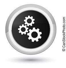 Gears icon prime black round button