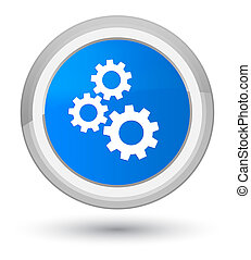 Gears icon prime cyan blue round button