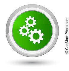Gears icon prime green round button