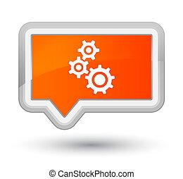 Gears icon prime orange banner button