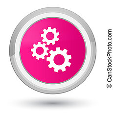 Gears icon prime pink round button