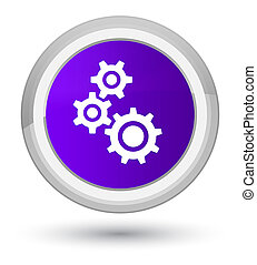 Gears icon prime purple round button