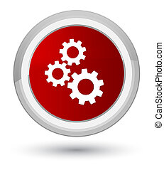 Gears icon prime red round button