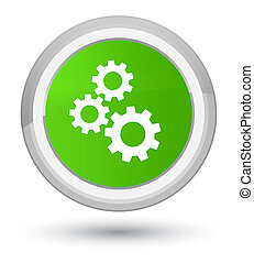 Gears icon prime soft green round button