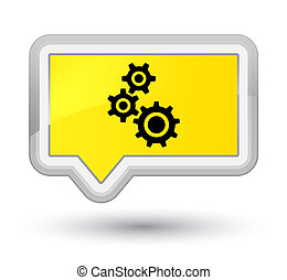 Gears icon prime yellow banner button - Gears icon isolated ...
