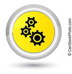 Gears icon prime yellow round button