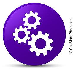 Gears icon purple round button