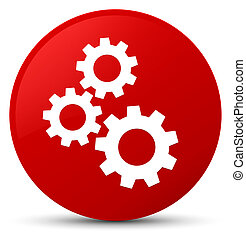 Gears icon red round button