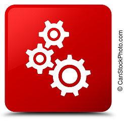 Gears icon red square button