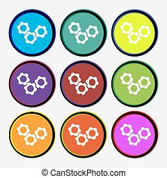 gears icon sign. Nine multi colored round buttons. Vector