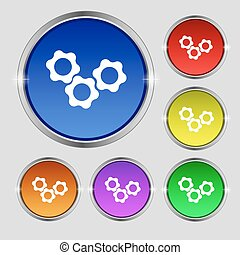 gears icon sign. Round symbol on bright colourful buttons. Vector