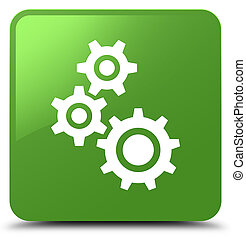 Gears icon soft green square button