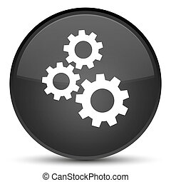 Gears icon special black round button