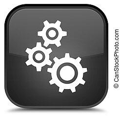 Gears icon special black square button