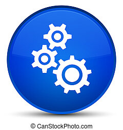 Gears icon special blue round button