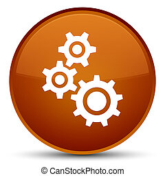 Gears icon special brown round button