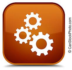 Gears icon special brown square button