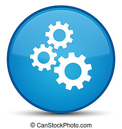 Gears icon special cyan blue round button