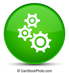 Gears icon special green round button